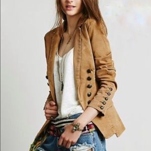 FREE PEOPLE Military style washed twill blazer